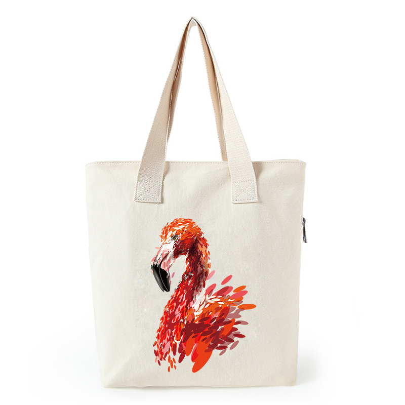 Flamingo print canvas tote bag customized eco bags custom made shopping bags with logo  Dachshund Shepherd Dog Poodle (5)