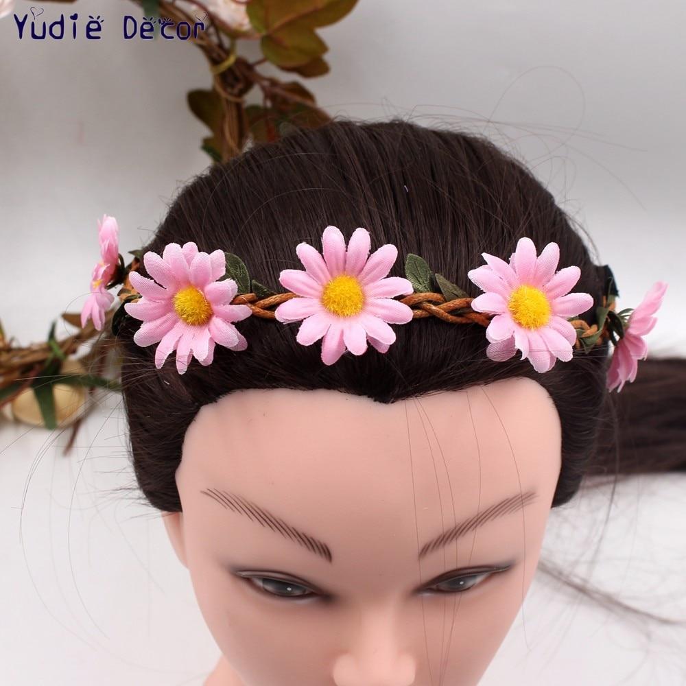 1pcs 4cm Daisy Wreath Silk Artificial Flowers Crown Wedding Travel Mariage Flores Bride Garland Women Hair Accessories Hairbands