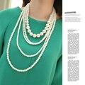 Европейский стиль многослойные ABS жемчужные украшения длинное ожерелье прядь 2016 горячие новые аксессуары и ювелирные изделия/les nereides/баян kolye