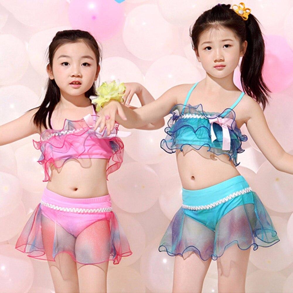 Hot! Children Swimsuit Girl Swimwear Swimming Suit Child Split Type Princess Dress Lovely Swimsuits Kid Skirts