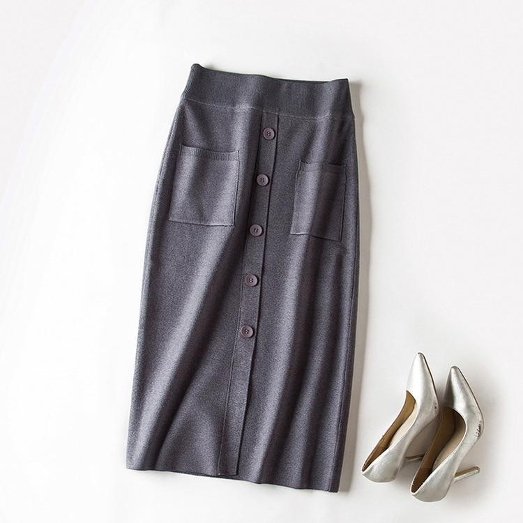 Con Mujeres Mujer line Falda Midi Cintura Negro Estiramiento Invierno Split caqui De Bolsillos gris Gtgyff Faldas Alta Punto Solo Caliente Breasted A borgoña Otoño wq6anHxY