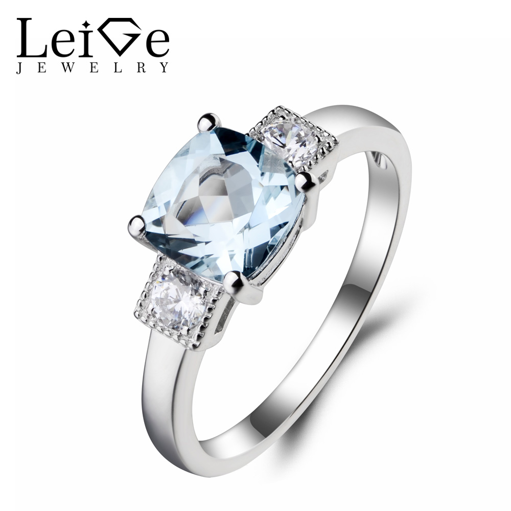 Leige Jewelry Cushion Cut Real Natural Aquamarine Ring Anniversary Ring Blue Gemstone 925 Sterling Silver March Birthstone Gifts
