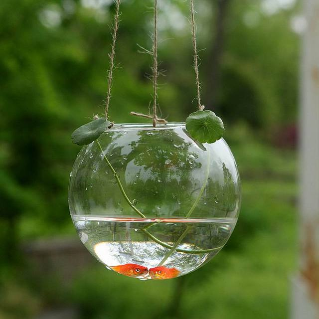 New Arrival ! Crystal Goldfish Bowl Hydroponics Vase Hanging Glass Ball  Decorative Garden Vase Dia10cm Opening
