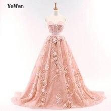 d492f9c80046043 YeWen зверь Форма персик Цвет высокое качество длинное вечернее платье 2018  3D Цветы Кружева Вечерние платья