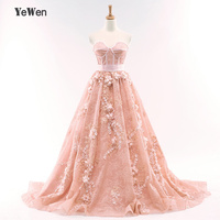 YeWen Beast Shape Peach Color High quality Long Evening Dress 2018 3D Flowers Lace Formal Evening Gowns robe de soiree