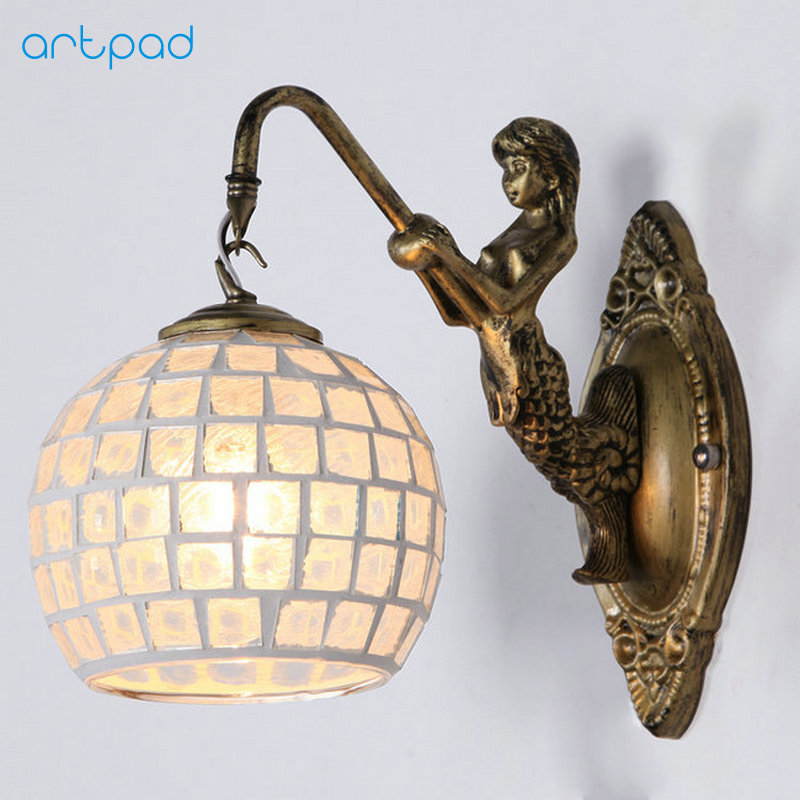 Artpad Mediterranean Style Decoration Turkish Mosaic Lamps Handmade Stained Glass Sconces Antique Wall Lights For Home Lighting turkish mosaic lamps blue crystal glass led lights hand blown murano glass chandelier lighting