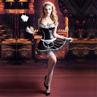 Sexy Lingerie Cosplay French Maid Costume Exotic Hot lingerie Apparel Maid Servant Role Play Women Black Clothing Cosplay Dress