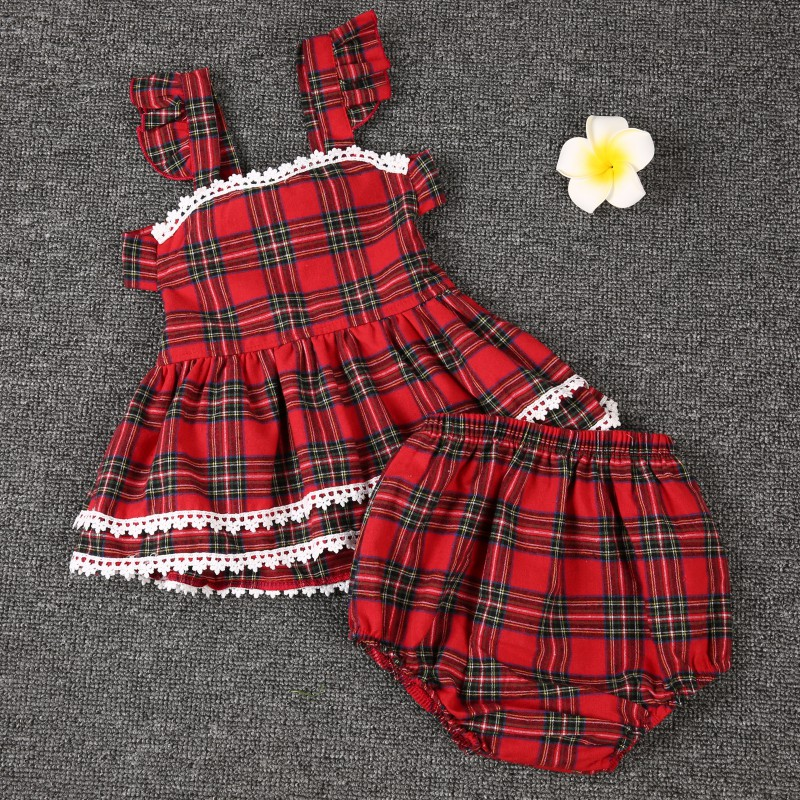 Hot Sale Baby Spring Summer British Style Girl Dress Set Explosion Models Plaid Clothes Set Girl Red Harness+PP Pants Suit