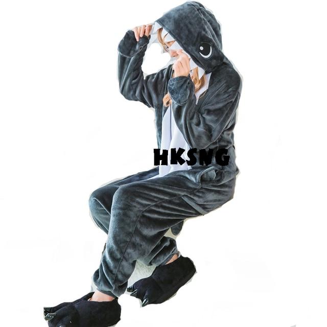 HKSNG Novo Cinza Tubarão Kigurumi Pijama Animal Adulto Unisex Flanela Onesies Cosplay Trajes de Festa de Família de Alta Qualidade Jumpsuits