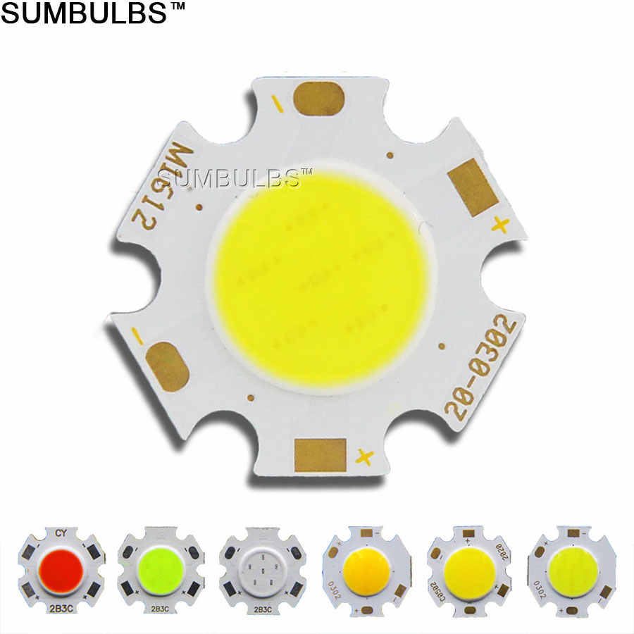 10pcs Bulk Sell Diameter 20mm Rounded COB LED Light Source Chip On Board 3W 5W 7W Green Blue Red Warm Natural Cold White Bulb DC