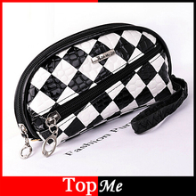 New vogue ladies zipper wallets Coin Purse Patent PU leather-based Black White Plaid cash keys luggage girl pockets Free Shipping
