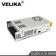 DC60V Power Supply Switching 6.7A 400W Driver Transformers 220V 110V AC to DC 60V Power Supplies for CNC CCTV Stepper Motors DIY