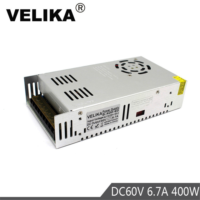 Fuente de alimentación conmutada para motores paso a paso, CC 60v, 6,7a, 400W, 220V, 110V, CA a CC 60V, suministros de energía para motores CNC CCTV