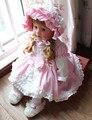 Nuevo Verano Del Bebé Vestidos de Partido Rosado de La Princesa Bebés Vestidos de Cumpleaños de La Boda Del Arco Grande Vestido de Bautizo Niño 0-24Month