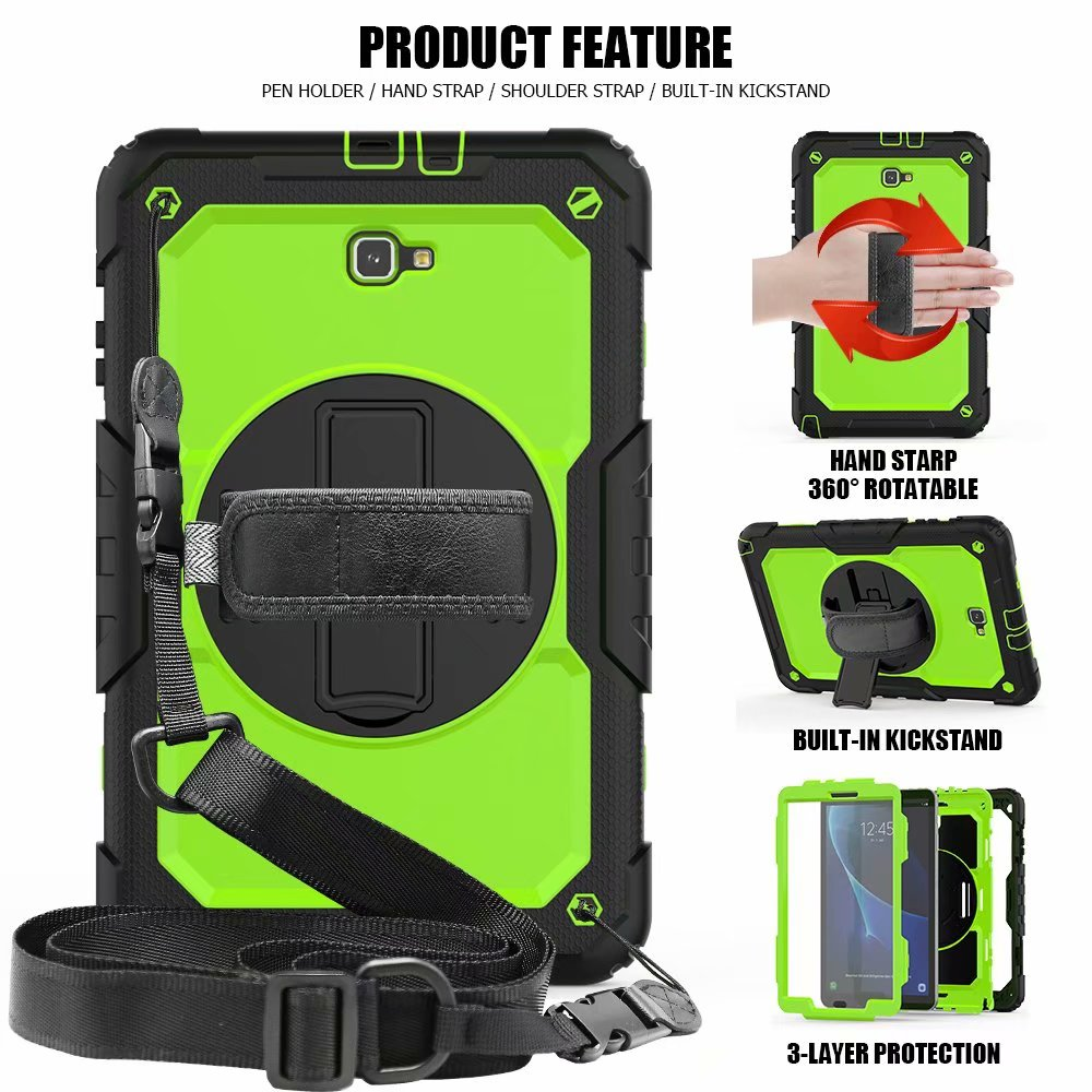 Kids Silicone Case For Samsung Galaxy Tab A A6 10.1 2016 T580 T585 Tablet 360 Degrees Rotating Cover +Neck Strap & Hand Strap