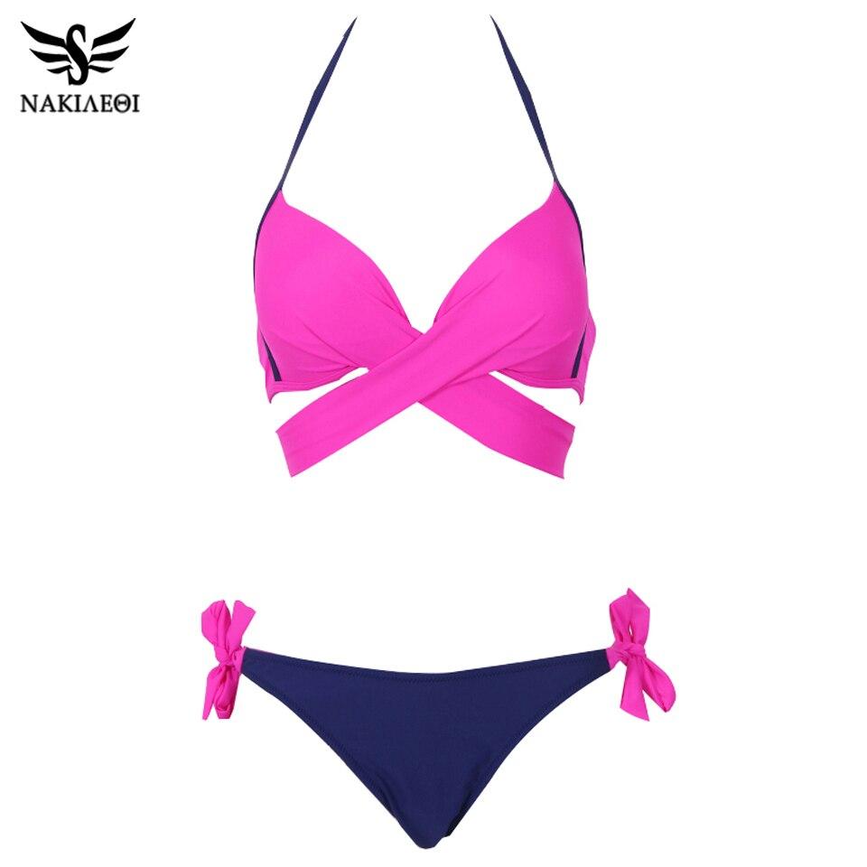NAKIAEOI 2019 Sexy Bikini Women Swimsuit Push Up Swimwear Criss Cross Bandage Halter Bikini Set Beach Bathing Suit Swim Wear XXL