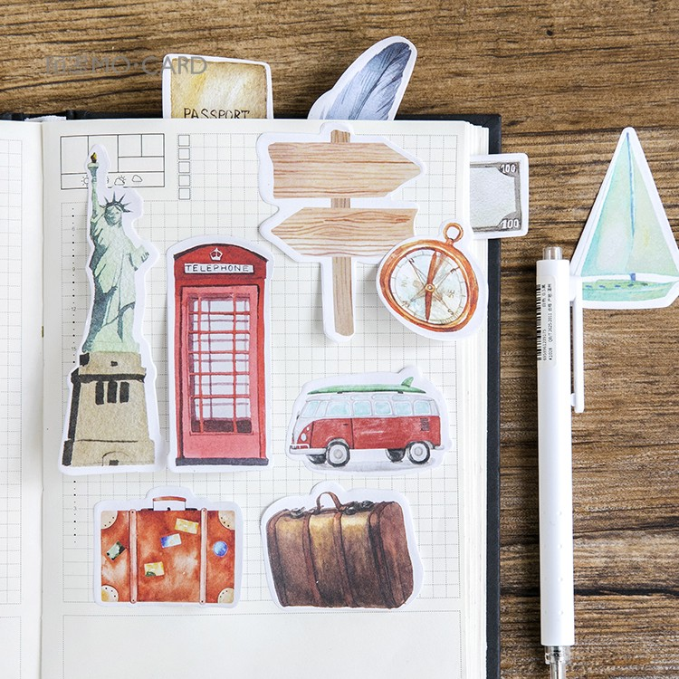 Fromthenon creative travel sticky notes vintage memo pad post office accessories note pad Japanese stationery school supplies