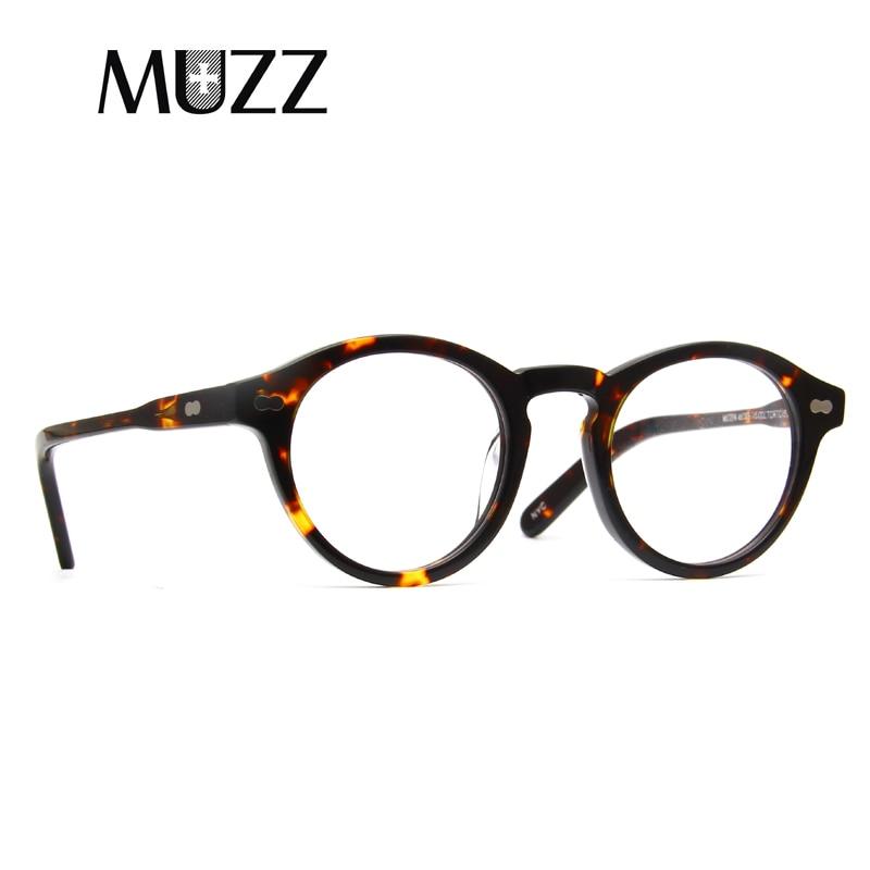 nuevo estilo 0f448 5f594 Montura de gafas ópticas de acetato de moda MUZZ gafas circulares 2018  marcas de gafas de lectura para hombre y mujer