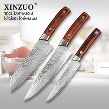 XINZUO 3 pcs Kitchen knives set Japanese Damascus kitchen knife surper sharp chef knife santoku Color wood handle free shipping