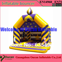 5x5x4m yellow and blue inflatable bouncer with slide on the leftside