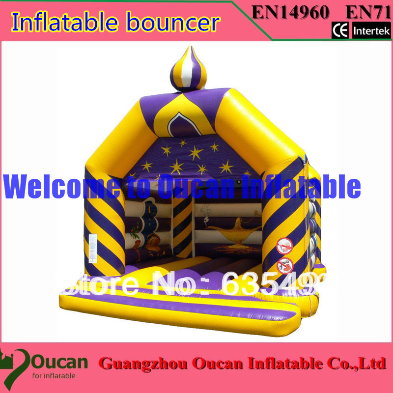 5x5x4m yellow and blue inflatable font b bouncer b font with slide on the leftside