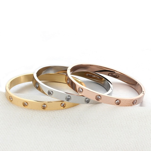 Love Bracelets Screw Bracelets For Women Stainless Steel Bracelets & Bangles Crystal Gold Color Women Jewelry Gift (BA101759) 3