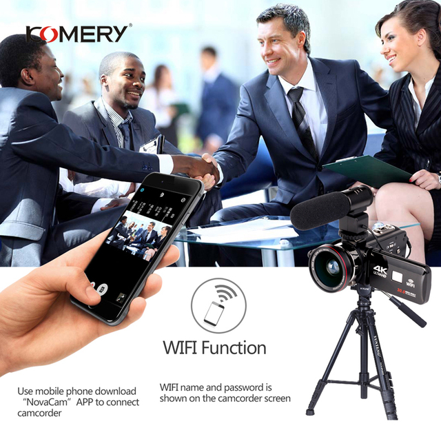 KOMERY 4K Camcorder Video Camera Wifi Night Vision 3.0 Inch LCD Touch Screen Time-lapse Photography Camera Fotografica With Micr 2