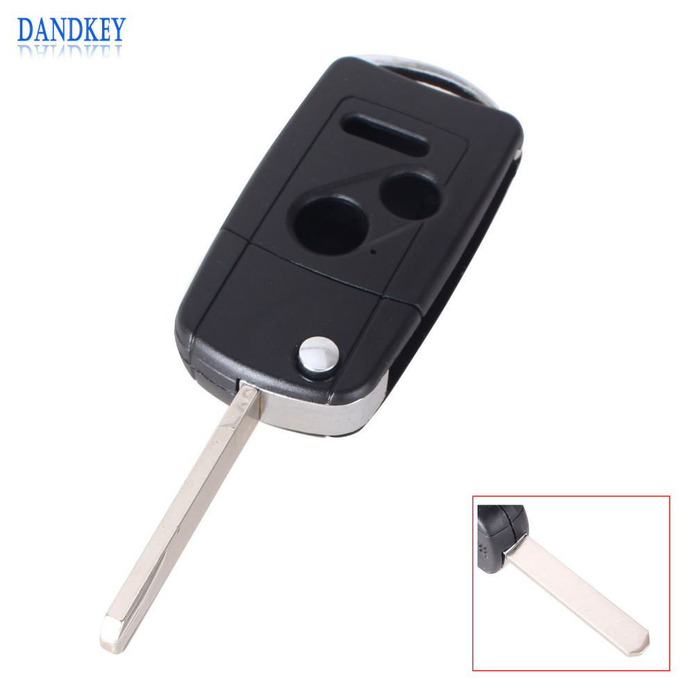 Dandkey modified 3 button folding flip remote key shell for honda odyssey civic cr v pilot fit acoord flip key case fob 2 1 pani