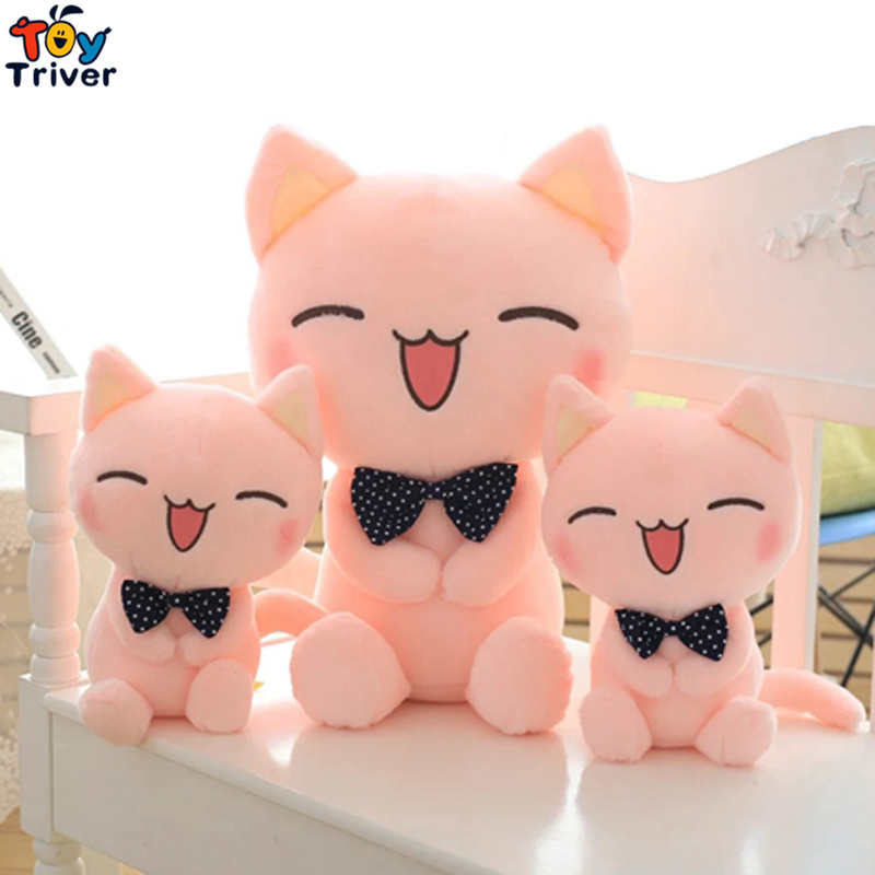 1pc Kawaii Plush Pink Kitty Cat With Tie Toy Stuffed Animal Doll Baby Kids Children Birthday Gift Home Shop Decor Promotion in Stuffed Plush Animals from Toys Hobbies