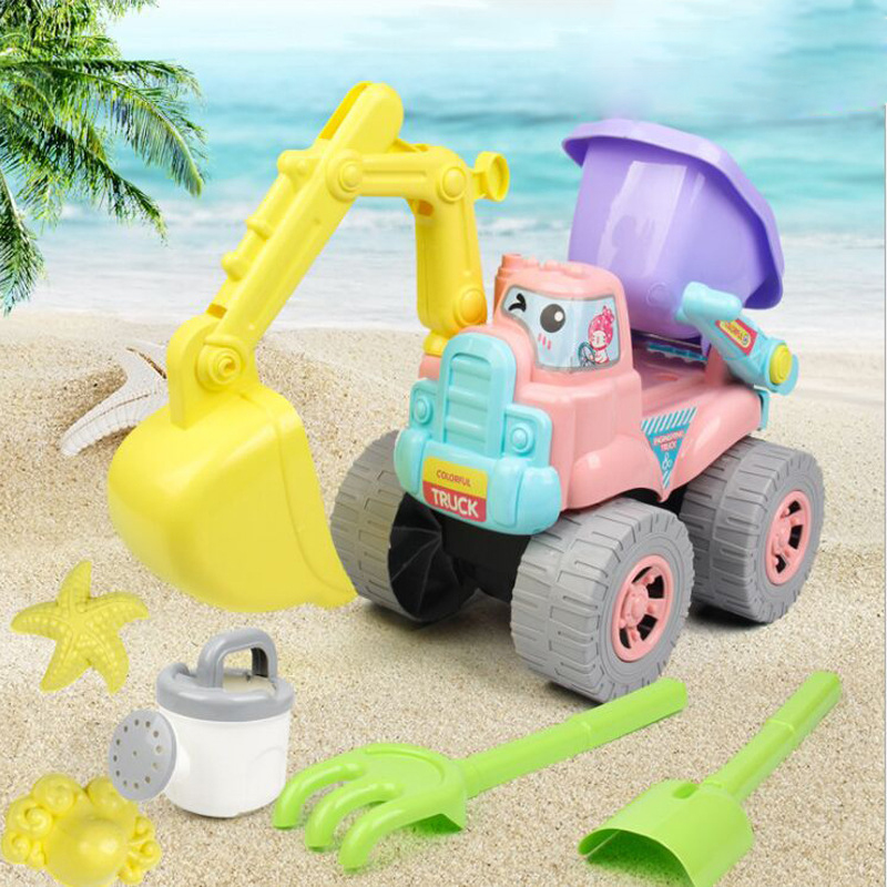 Beach/sand Toys 6pcs/set Kids Beach Toys Sand Castle Plastic Tool Spade Shovel Rake Watering Car Beach Sand Dune Tool Toys For Kids Truck Toys Goods Of Every Description Are Available Pools & Water Fun