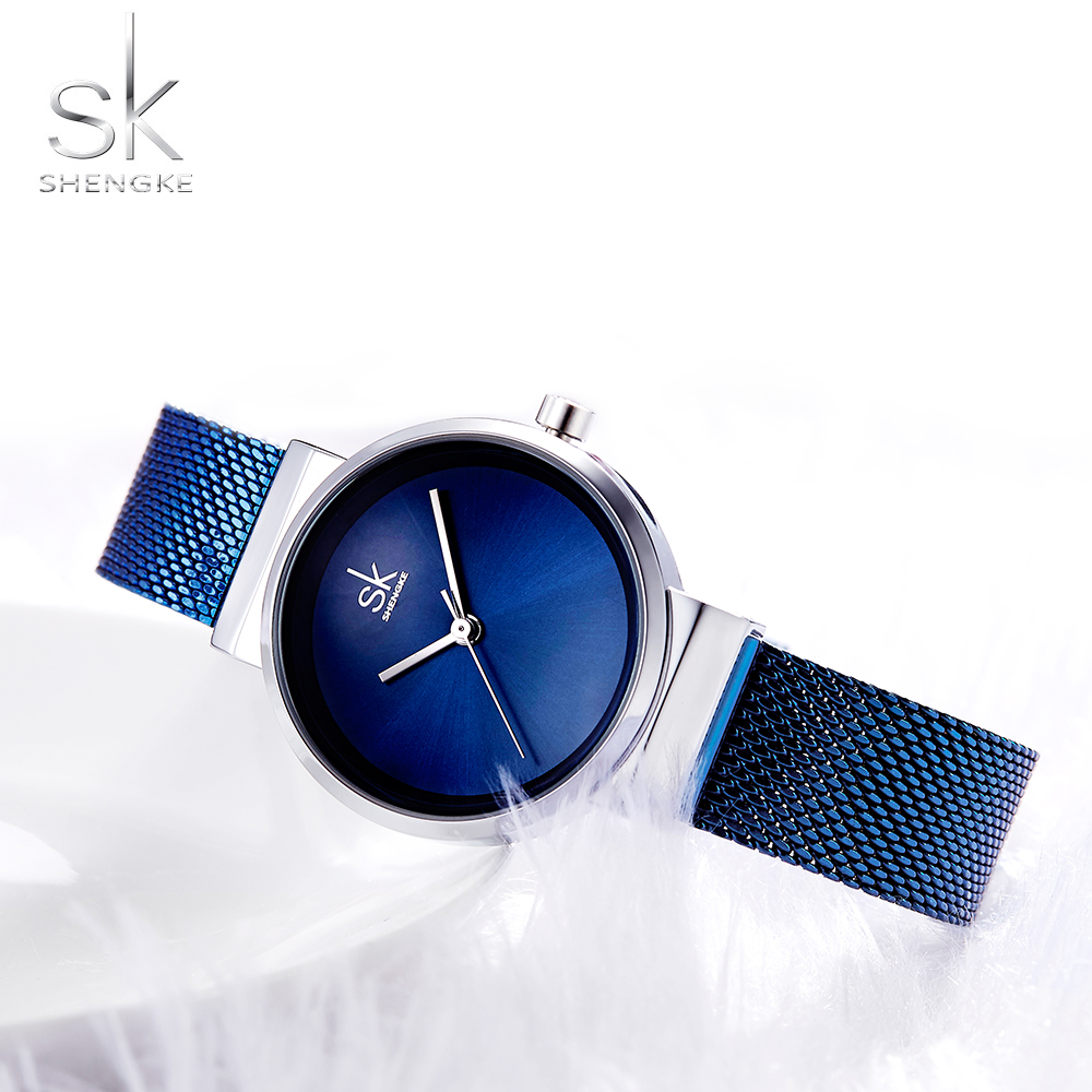 Shengke azul reloj mujer relojes de lujo marca acero cuarzo de las señoras relojes mujer 2018 Relogio Feminino Montre Femme
