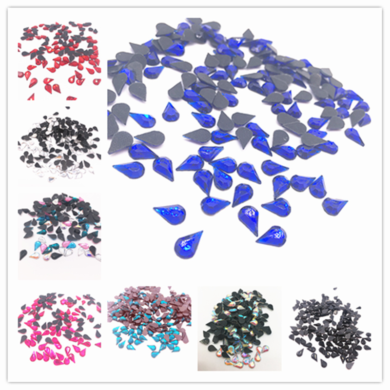 100pcs 5x8mm Faceted Teardrop Iron On Hot Fix Crystal Glass Rhinestones DIY Jewelry Making