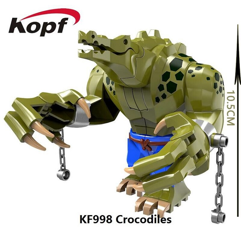 Single Sale 10.5CM Big Size Crocodile killer Super Heroes The Batman Movie Bricks Model Building Blocks Toys for children KF998 single sale super heroes movie series biznis kitty from set 70809 unikitty bricks model building blocks children gift toys kf447