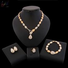 Biżuteria złota biżuteria republika południowej afryki kup modna biżuteria biżuteria Online tanie tanio yulaili Ze stopu cynku Dziewczyny Kobiety Moda TRENDY Kryształ Party HD18071001 Okrągły Naszyjnik kolczyki pierścień bransoletka