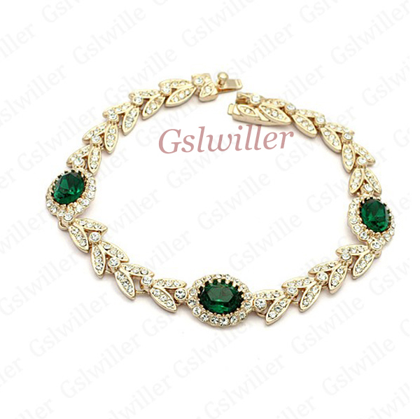 Free Shipping Italina Rigant Fashion Wholesale Jewelry Green Austrian Crystal Bracelet, Girlfriend / mother Gift