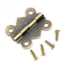 10pcsset 180 degrees mini butterfly door hinges bronze cabinet drawer jewellery box decorate hinge for furniture hardware
