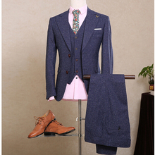 NA10 Custom Made Men Navy Blue Formal Wedding Tuxedos Tailored Males Slim Fit Groom Tuxedos For Man 3 Pcs (Jacket+Pants+Vest)