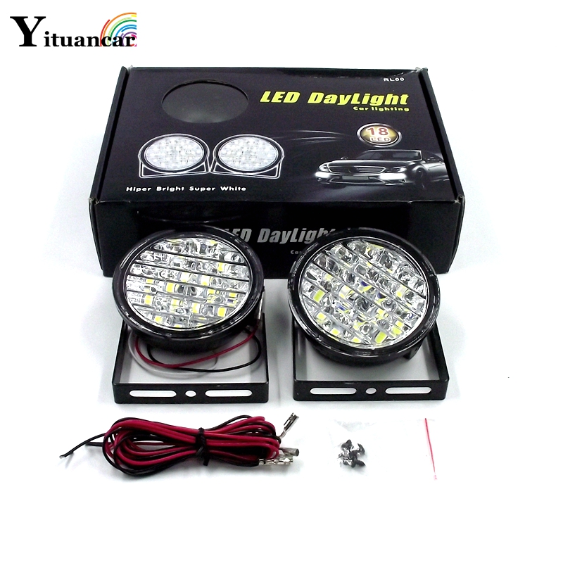 Yituancar 2Pcs/Set 18 LED DC12V 18W DRL Daytime Running Light E4  Auto Fog Lamp Car Light Source Styling White Free Shipping