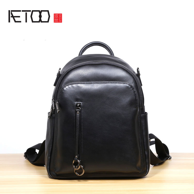 AETOO New fashion wild backpack female cowhide backpack Korean version of the tide Institute of wind simple leisure travel bag aetoo first layer of leather shoulder bag female bag korean version of the school wind simple wild casual elephant pattern durab