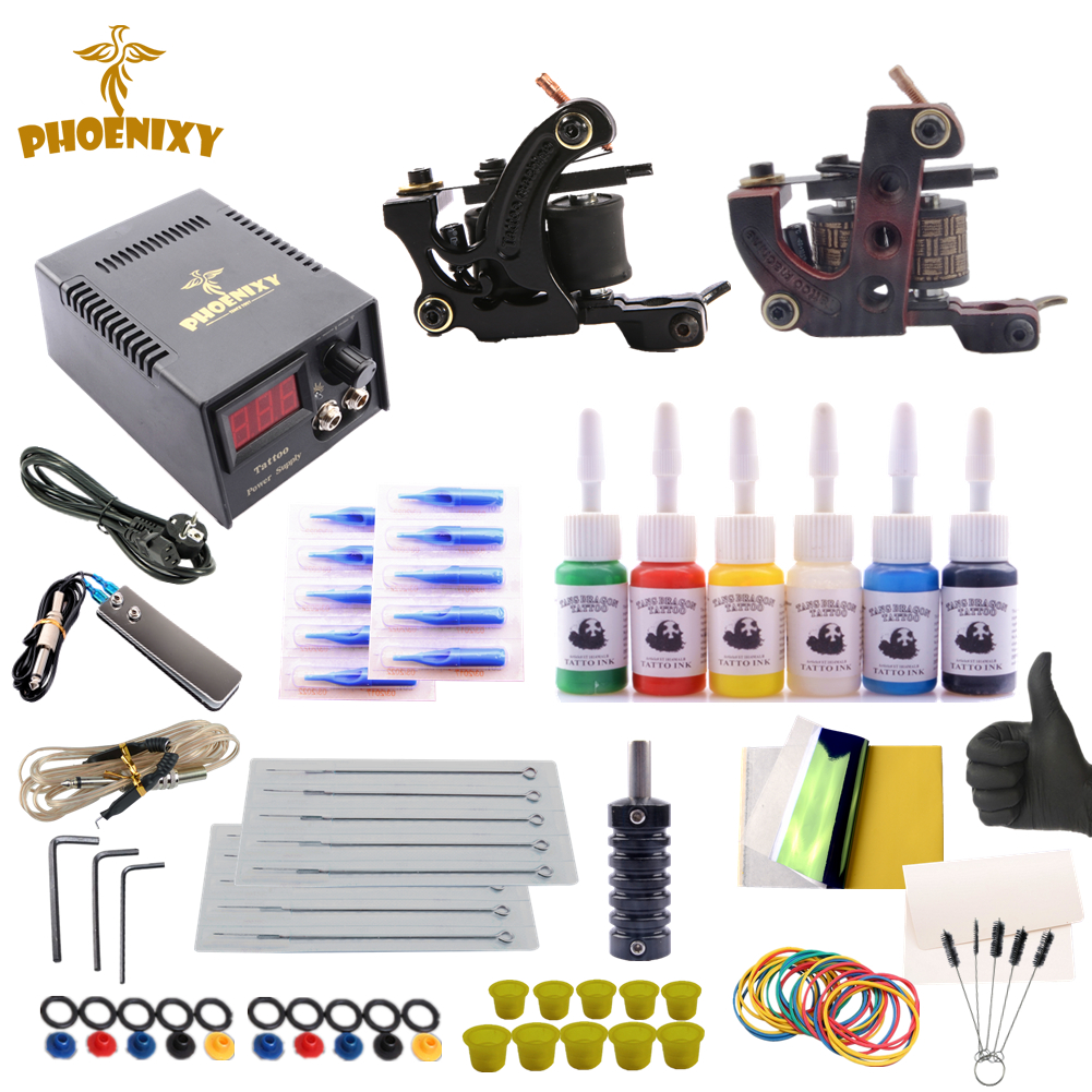 Tattoo Kit Completed 6 Colors Tattoo Ink Set 2 Machines Set Black Power Supply Permanent Make Up Professional tattoo kit completed permanent makeup 2 machines set professional tattoo machine set 10 colors tattoo ink sets permanent make up