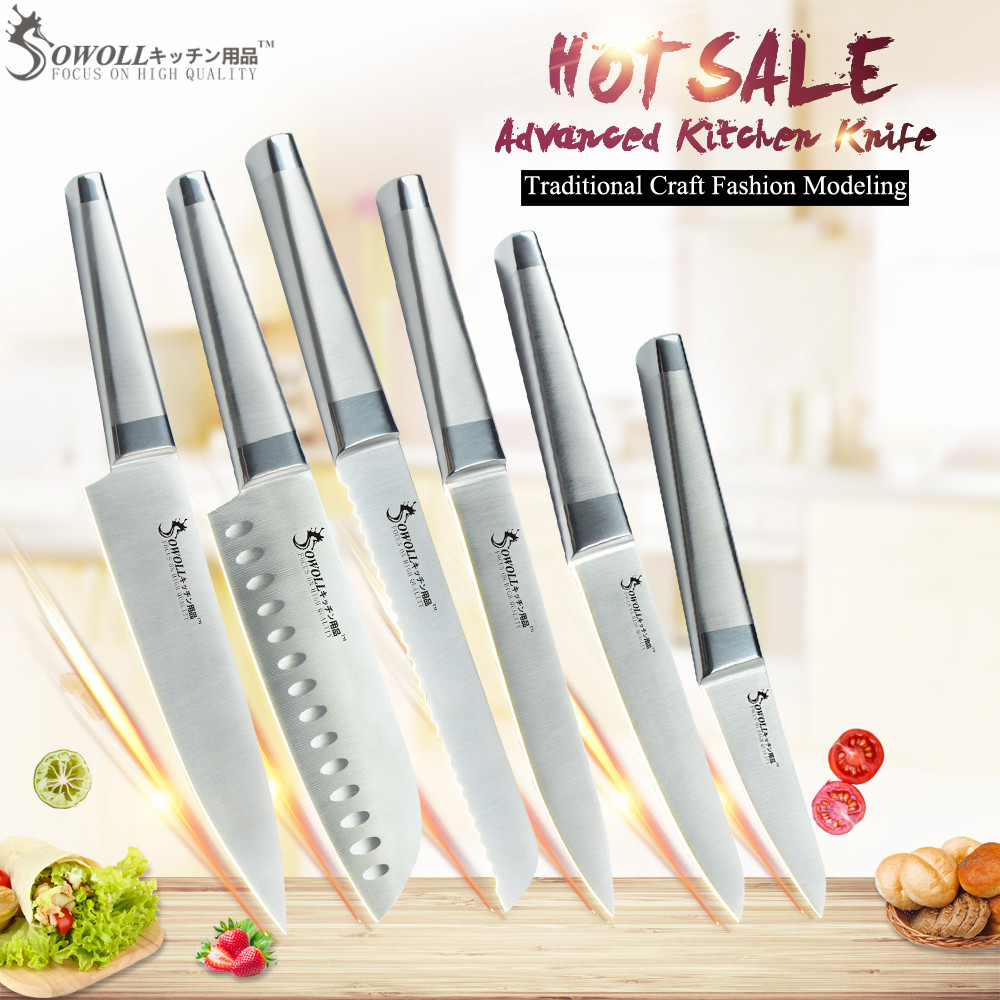 SOWOLL Mater Chef Stainless Steel Kitchen Knife Set Utility 6 PCS Cooking Knife 7Cr17mov Ultra Sharp Blade Top Quality KnivesSOWOLL Mater Chef Stainless Steel Kitchen Knife Set Utility 6 PCS Cooking Knife 7Cr17mov Ultra Sharp Blade Top Quality Knives