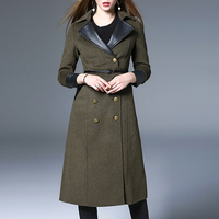2017 Spring Autumn And Winter Women New Wool Coat Belt Fashion Long Coat Leather Turn Collar