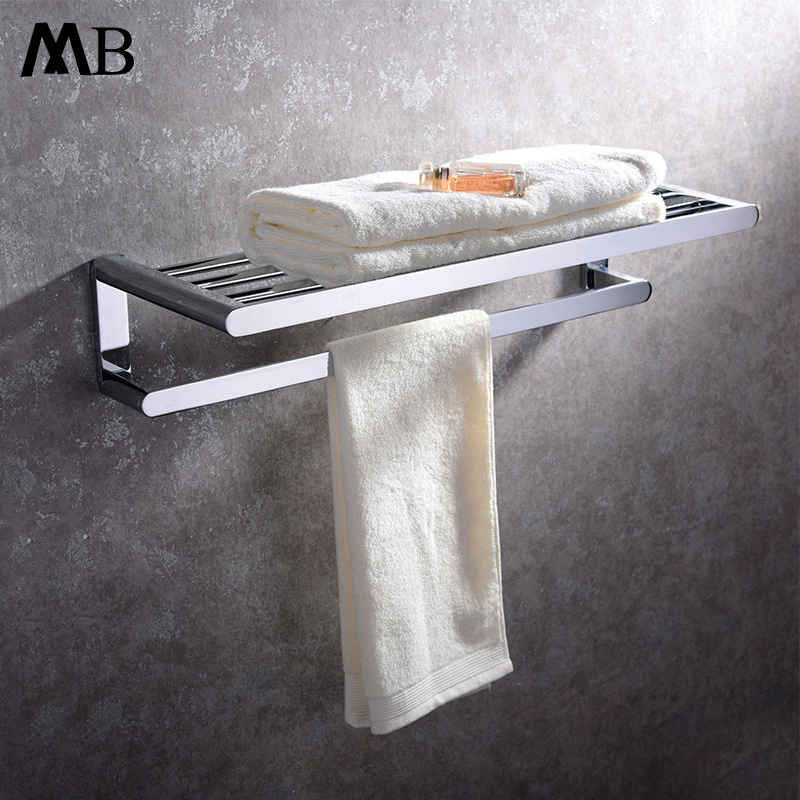 Wall Mounted Brass Chrome Bathroom Towel Holder 60cm Bathroom Accessories Square Bath Towel Bar Double Towel Rack