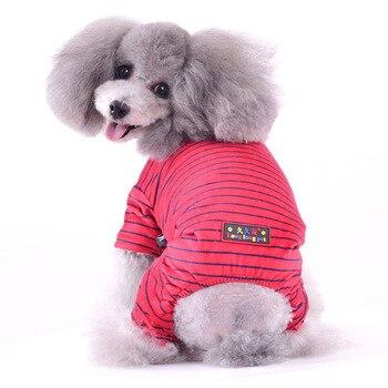 FH71 Inverno 2019 Quentes Stripe Dog Pet 4 pernas Macacão Roupas Espessamento Hoodies Macacão Traje Vestuário para Puppys cães de Pequeno porte