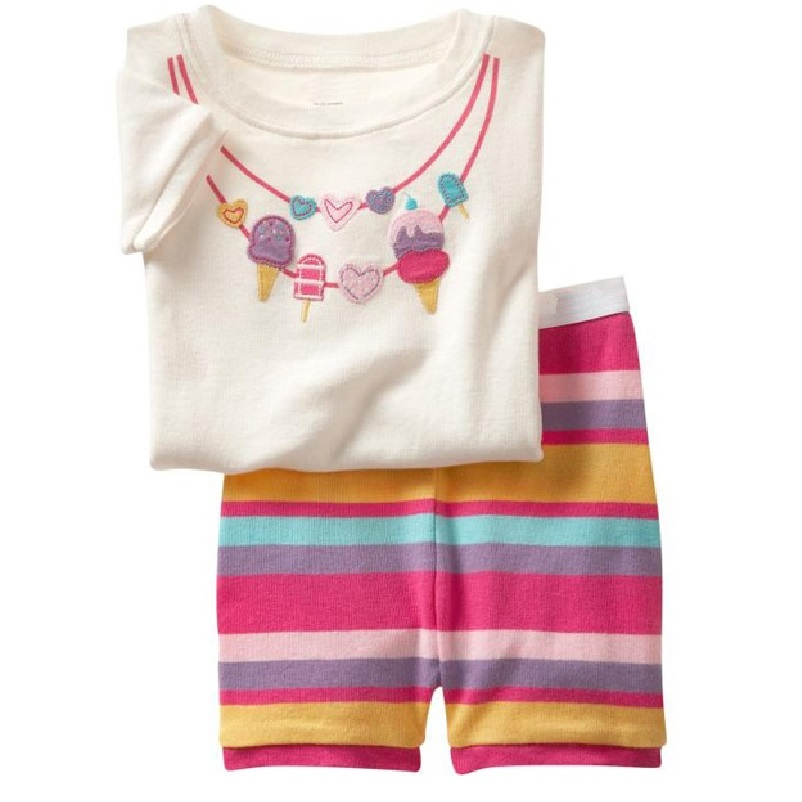 Girls Pajamas Sets 2-7years Girls' Clothes Suit Summer Short Sleeve T-Shirts Tops Short Pant Set 100% Cotton Sleepwear