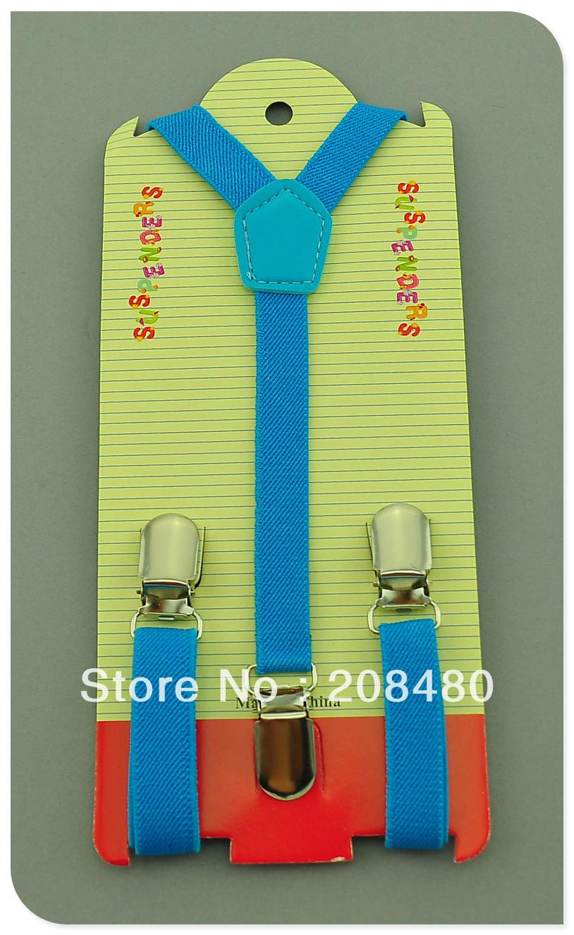 Free Shipping-1.5x65cmSky blue Kids Suspenders Children/Boys/Girls Suspender Elastic Braces Slim Suspenders-Wholesale & Retail