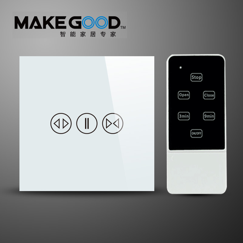 Makegood Luxury Galss Panel EU Type Remote Control Smart Electric Touch Curtain Wall Switch With LED indicator Blue Backlight black color 2gang touch light switch with wireless remote control rf 433mhz glass panel smart wall touch switch uk type