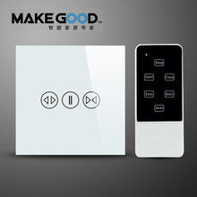 Makegood Luxury Galss Panel EU Type Remote Control Smart Electric Touch Curtain Wall Switch With LED