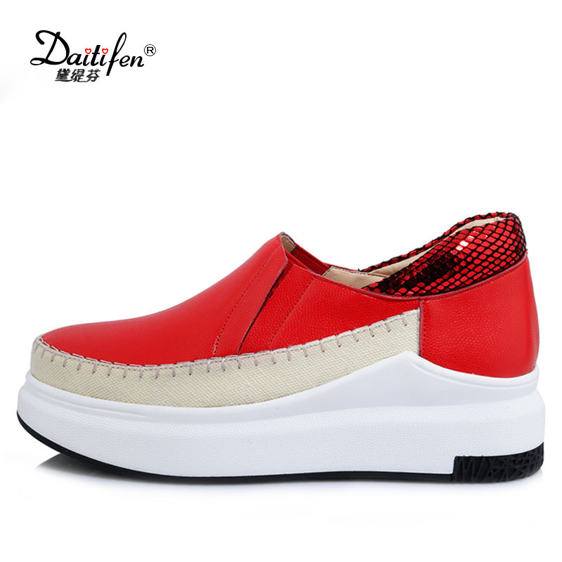 Daitifen Spring Autumn Women Shoes Genuine Leather Platform Shoes Woman Loafers Casual Flat Round Toe Single Shoes Women Flat elevator 2015 autumn single shoes women s black genuine leather wedges casual shoes dawdler women s platform shoes
