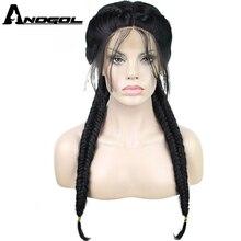 Anogol Длинные Двойные косы натуральный черный высокая температура волокна средняя часть Синтетический Плетеный парик на кружеве с детскими волосами Парики